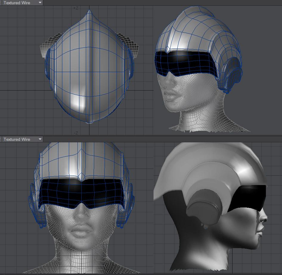 retro sci-fi helmet model wire frame